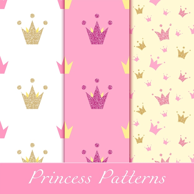 Princess patterns with glittering golden and pink crowns Premium Vector