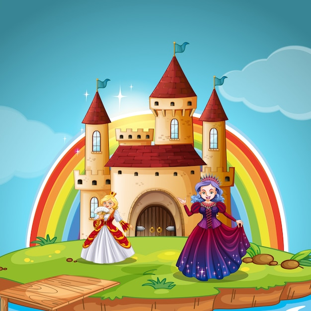 Princess and queen at the castle Free Vector
