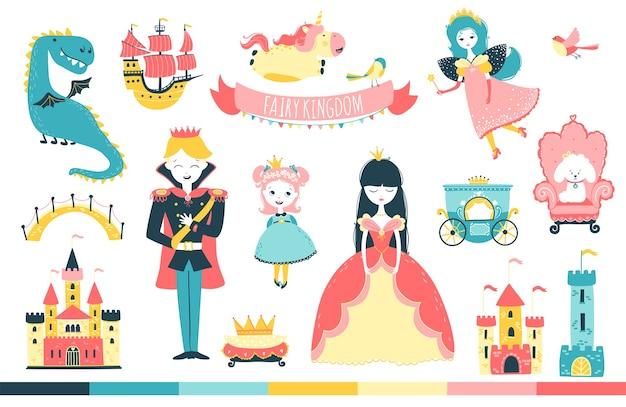 Принцесса с принцем и персонажами в сказочном королевстве карикатура иллюстрации в стиле каракули Premium векторы