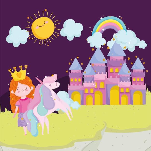 Сказка принцессы единорог замок радуга солнце облака небо мультфильм векторные иллюстрации Premium векторы