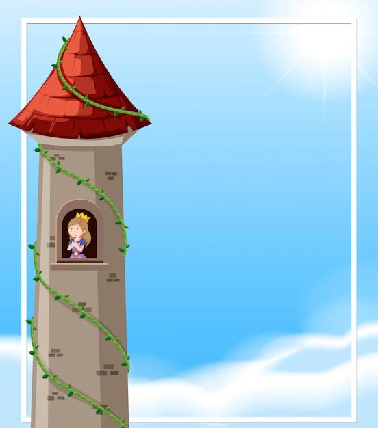 Princess in tower scene Free Vector