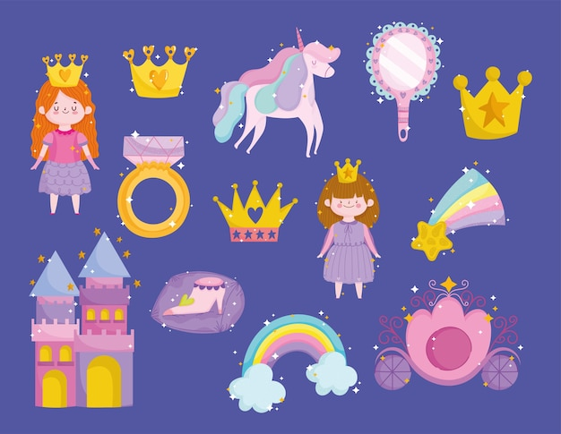 Принцесса единорог корона радуга звезда зеркало кольцо замок мультфильм иконки Premium векторы