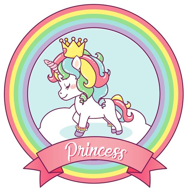 Princess unicorn on a rainbow frame Premium Vector