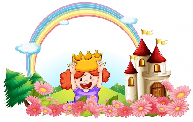 A princess with a castle at the back Premium Vector
