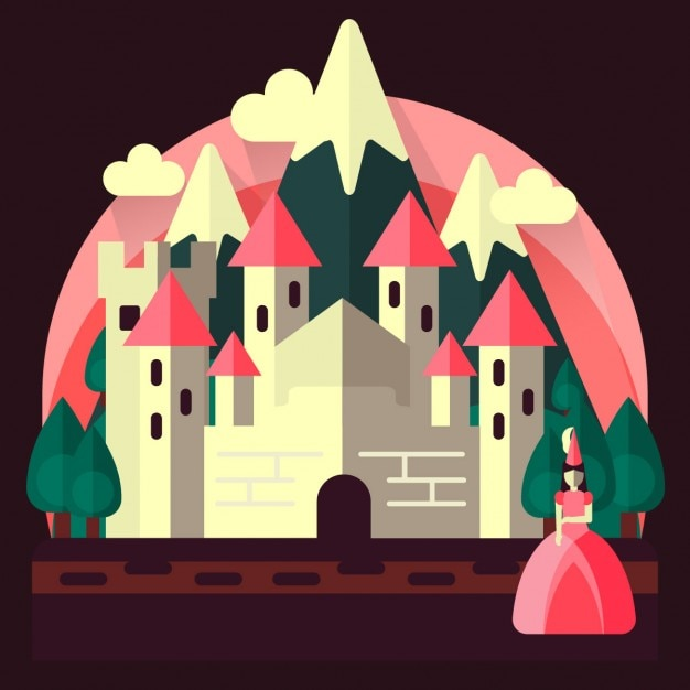 Princess with castle in flat design Free Vector