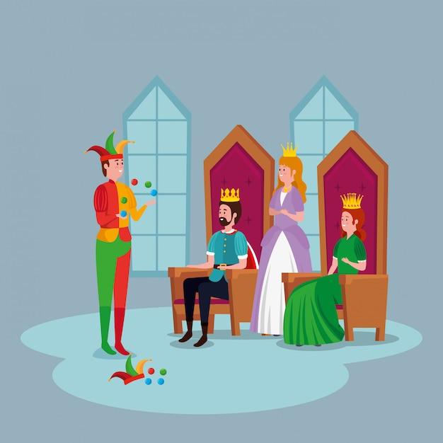Принцесса с королями и шутник в замке Бесплатные векторы