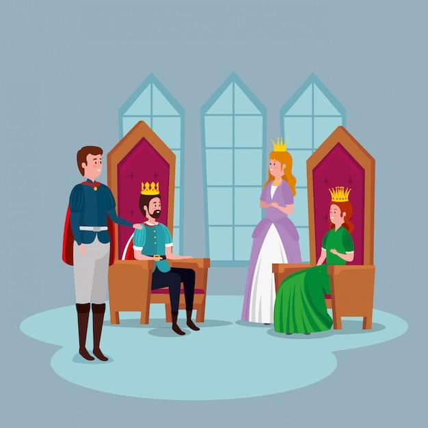 Принцесса с принцем и королями в замке Бесплатные векторы