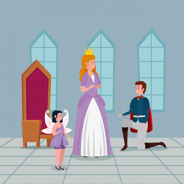 Princess with prince in indoor castle Free Vector