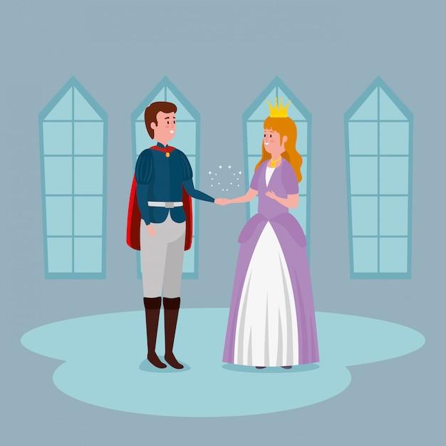 屋内の城で王子と王女 無料ベクター