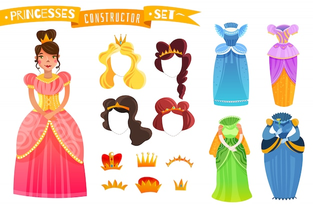 Princesses constructor set Free Vector