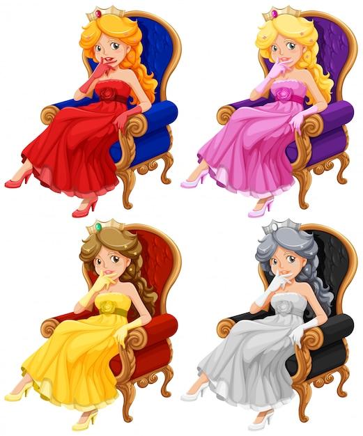 Princesses set Free Vector