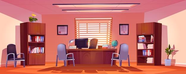 Главный школьный офисный интерьер, пустая комната со столом директора, компьютером, книгами и глобусом на столе, стульями для посетителей и книжными шкафами с папками, горшечными растениями. мультфильм векторные иллюстрации Бесплатные векторы