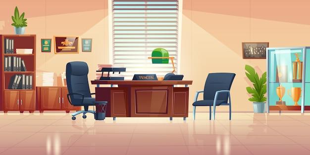 스포츠 트로피와 함께 책상, 의자, 책장 및 쇼케이스가있는 학교의 교장 사무실. 교사, 학생 및 부모와의 대화 및 대화를위한 교장 캐비닛의 만화 빈 인테리어 무료 벡터