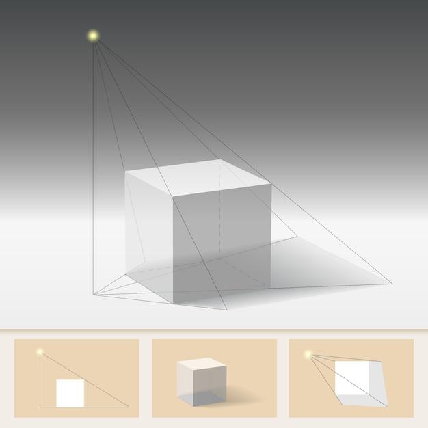 Principle of constructing the shadow. Premium Vector