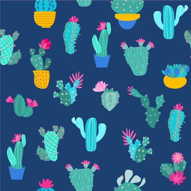 Print cactus seamless pattern Premium Vector