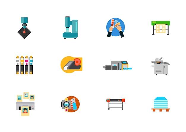 Print media production icon set Free Vector