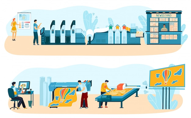 Print press process, equipment for printing, advertising, offset and digital, inkjet paint technology printing, workers, print machines v illustration. Premium Vector
