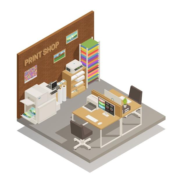 Print shop interior isometric Free Vector