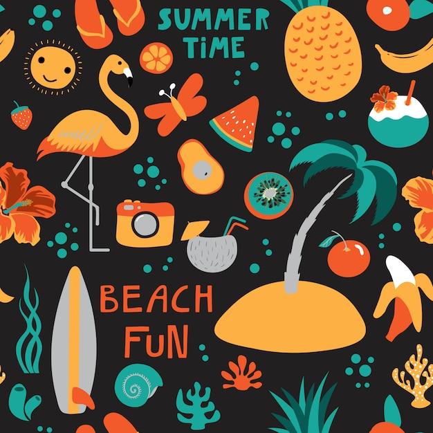 Print summer time black Premium Vector
