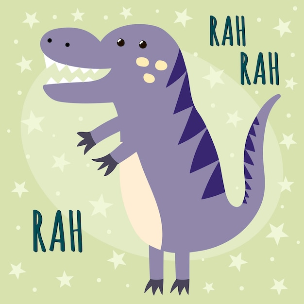 Print with a cute dinosaur. great for baby t-shirt and textile design. Premium Vector
