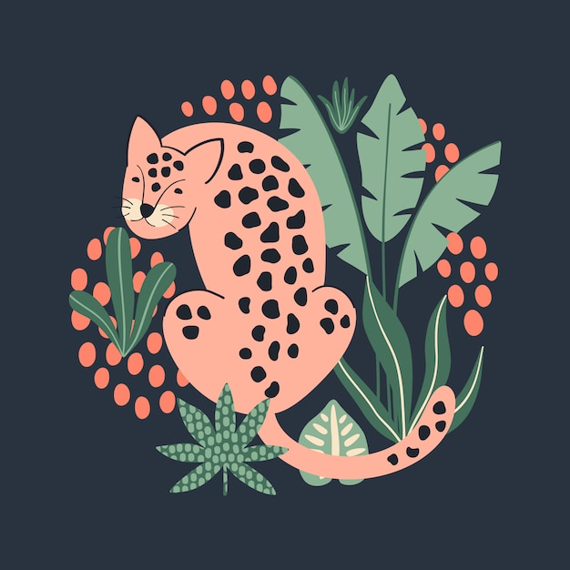 Print with pink leopard and tropical leaves. Premium Vector