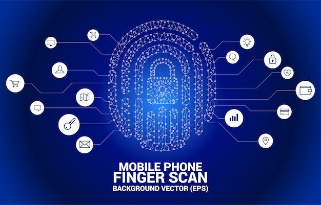 ドットとラインの回路基板スタイルからロックパッドセンターとベクトルprint印。指スキャン技術とプライバシーアクセスの概念。 Premiumベクター