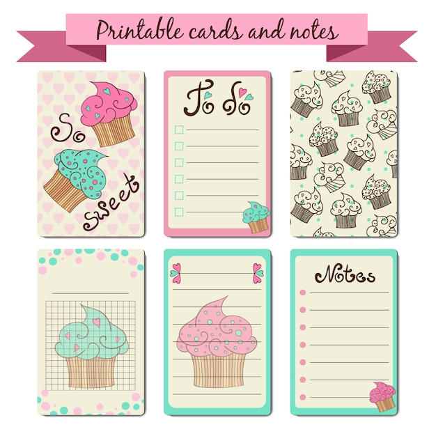 graphic about Printable Note identify Printable playing cards and observe cupcake design and style Vector Cost-free Obtain