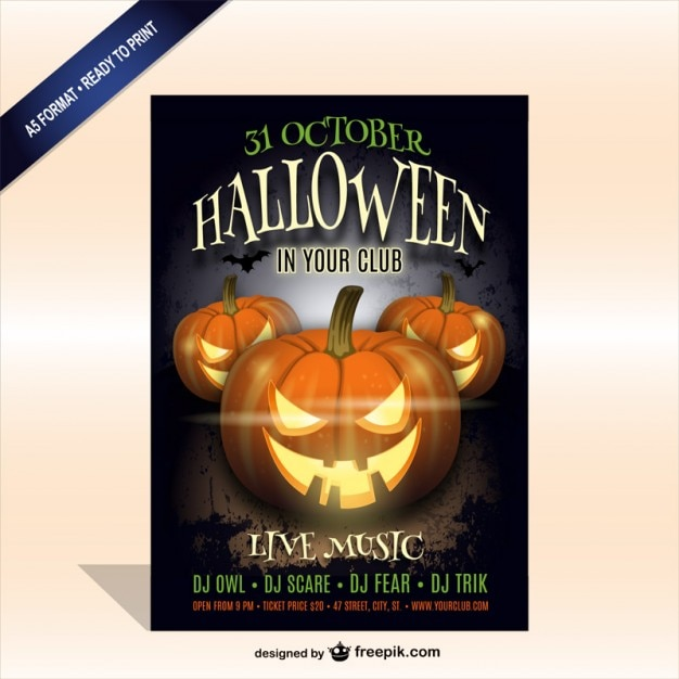 Printable Halloween party poster template Vector | Free Download