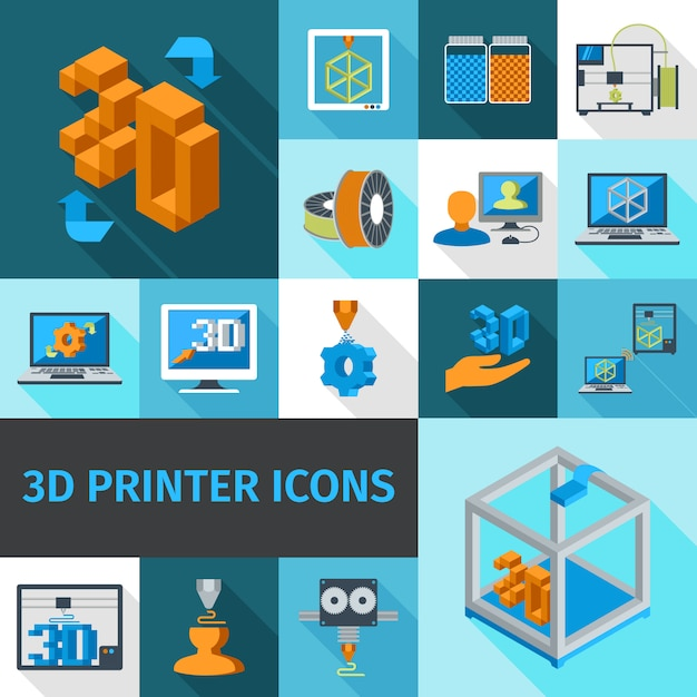 Printer 3d icons Free Vector