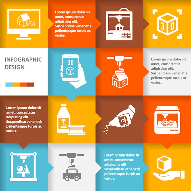 Printer 3d infographic Free Vector