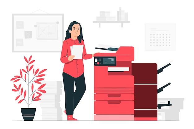 Иллюстрация концепции принтера Бесплатные векторы