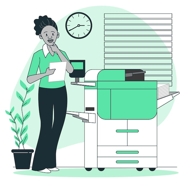Printer concept illustration Free Vector