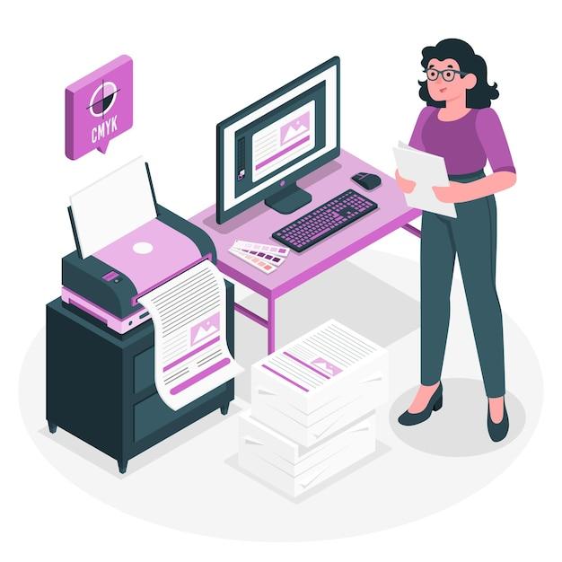 Printer concept illustration Free Vector