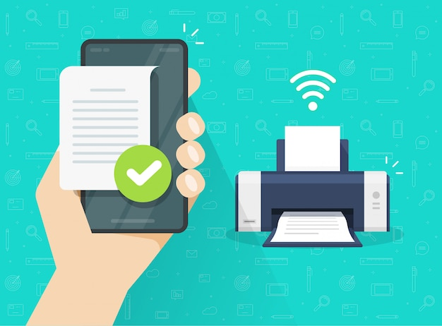 Printer printing document wirelessly from mobile phone or smartphone wifi connection flat cartoon illustration Premium Vector