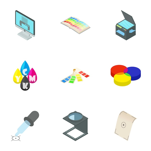 Printer set, cartoon style Premium Vector