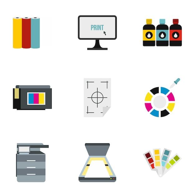 Printer set, flat style Premium Vector