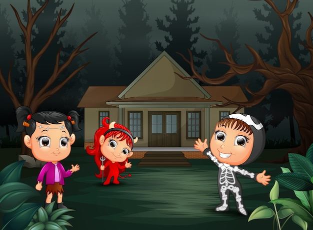 Printhappy halloween party with group of children Premium Vector