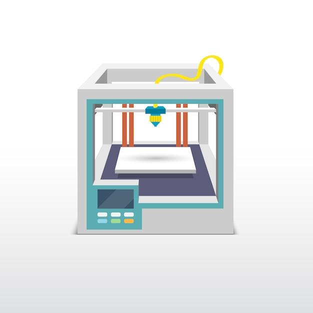 Printing 3d emblem Free Vector