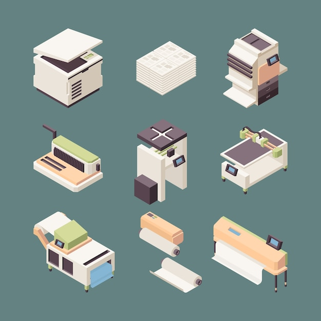 Printing equipment. paper industry offset printer plotter rolls inkjet cutter folding creasing machines vector isometric. equipment isometric inkjet printer, scanner computer device illustration Premium Vector
