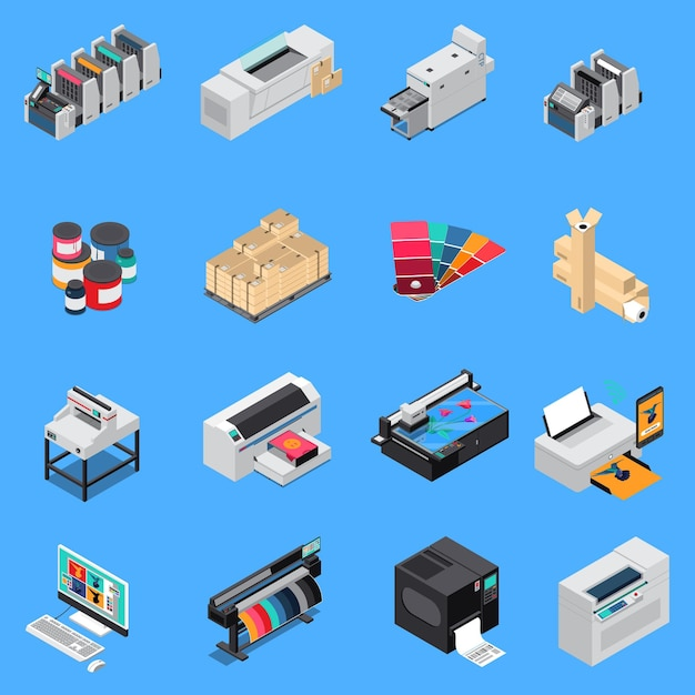 Printing house equipment production isometric icons set with digital technology and offset press devices isolated Free Vector