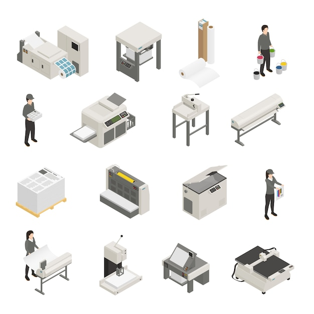 Printing house isometric icons set Free Vector