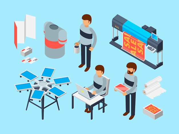 Printing house tools. industrial inkjet offset publishing laser machine printer coloring copier  3d isometric Premium Vector