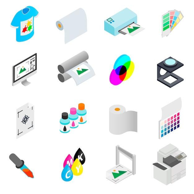 Printing icons set Premium Vector