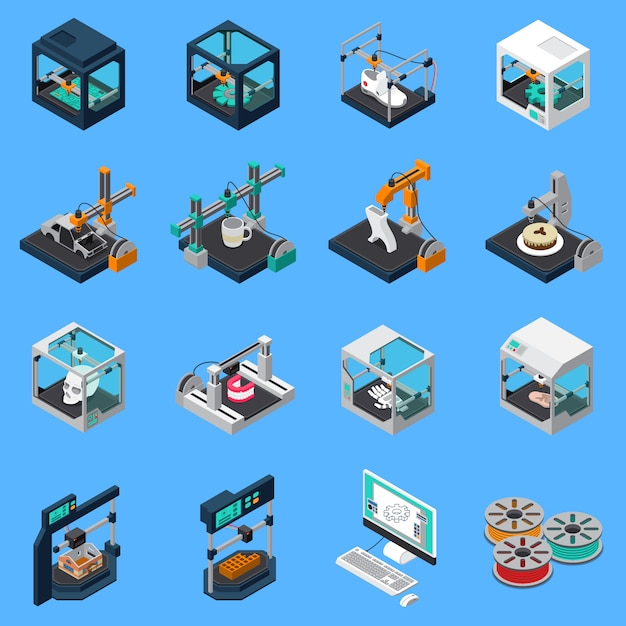 Printing industry icon set Free Vector