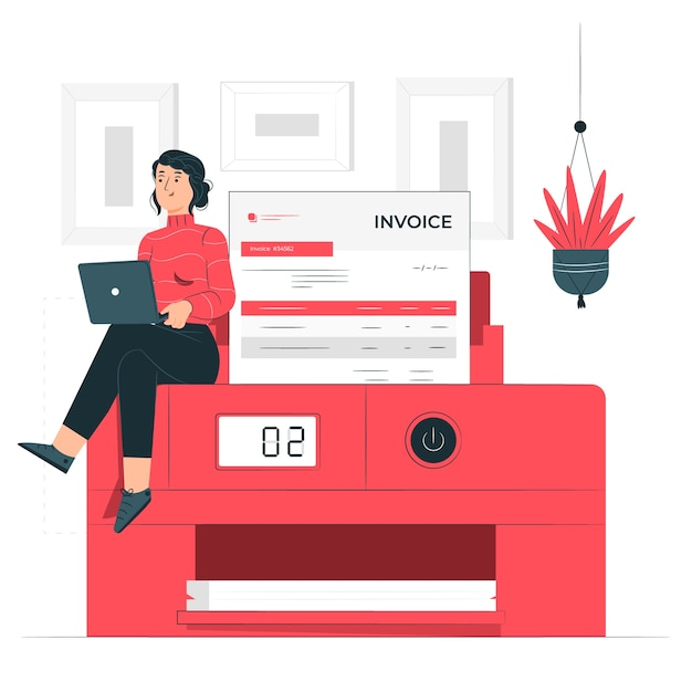 Printing invoices concept illustration Free Vector