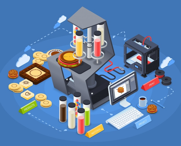 Printing isometric concept Free Vector