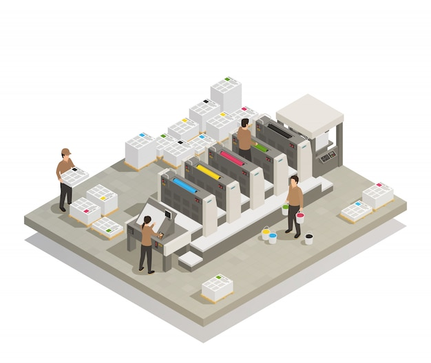 Printing production process isometric Free Vector