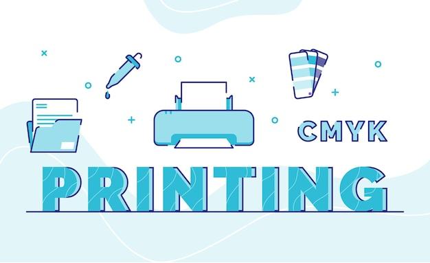 アイコンファイルフォルダインク印刷機パレットカラーのタイポグラフィワードアート背景をアウトラインスタイルで印刷 Premiumベクター