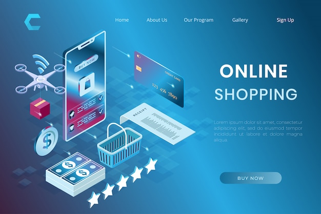 Printsystem illustration online shopping, ecommerce payment and delivery in isometric 3d style Premium Vector