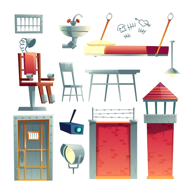 Prison building, jail cell, death row inmate section interior, design element cartoon Free Vector